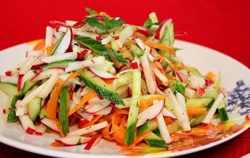 Рецепт приготовления салата из редиски - пошаговая инструция